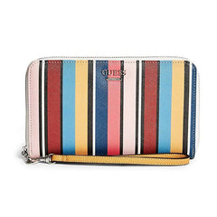 Guess Rossdale Striped Large Zip-Around Wallet Wristlet