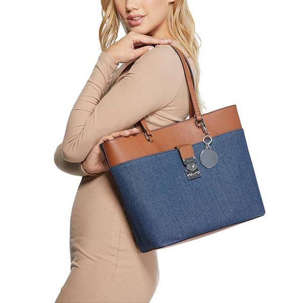 Rubic Denim Shoulder Tote Handbag by Guess