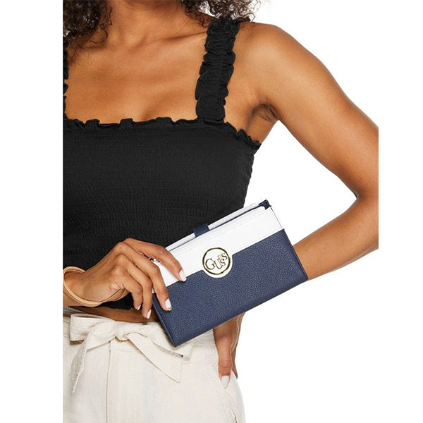 Skylar Phone Wristlet by Guess, Large, Blue, DX20184, Model