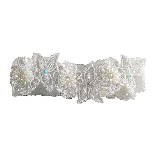 Hand Beaded Ivory and Blue Lace Garter