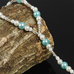 Handmade Blue Pearls Barefoot Sandals Set, Beach Wedding Anklet - Gifts Are Blue - 3