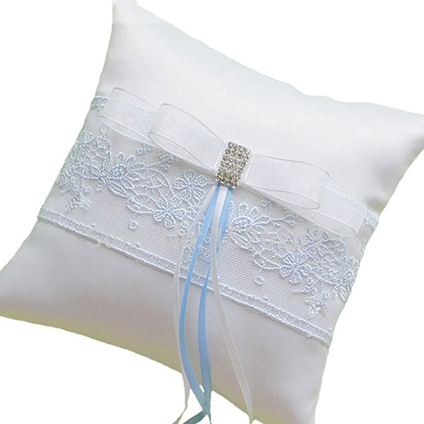 "Handmade Ring Bearer Pillow for Wedding with Blue Embroidery - 6.5"" - Gifts Are Blue - 2"