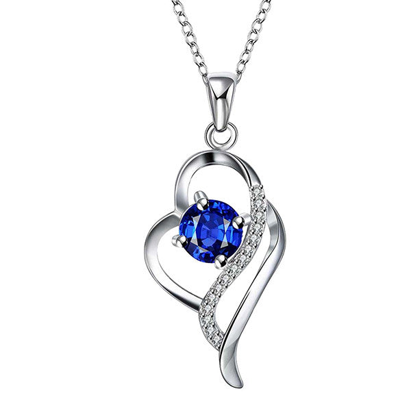 Heart Shaped Sterling Silver Pendant Necklace with Blue Stone