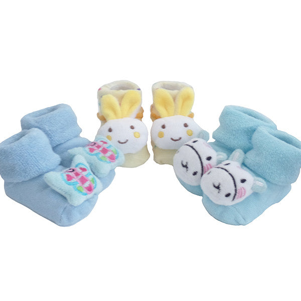 3 Pack Cute Infant Baby 3D Socks Slippers - Gifts Are Blue - 1