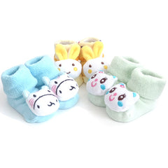 3 Pack Cute Infant Baby 3D Socks Slippers - Gifts Are Blue - 2