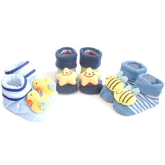 3 Pack Cute Infant Baby 3D Socks Slippers - Gifts Are Blue - 4