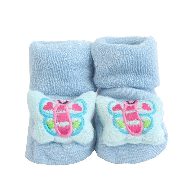 Cute Infant Baby Cotton Socks Shoes, 0 to 6 Months - Gifts Are Blue - 10