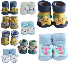 3 Pack Cute Infant Baby 3D Socks Slippers - Gifts Are Blue - 5