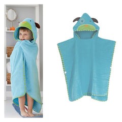 Cartoon Print Infant Toddler Blue Animal Hooded Bath Robe - Gifts Are Blue - 2