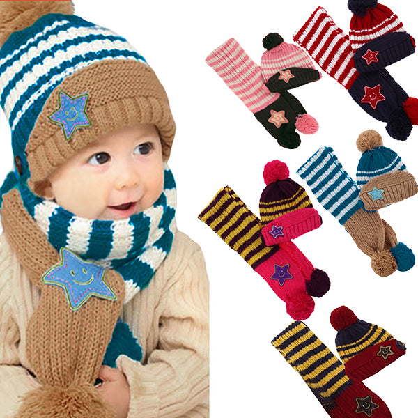 Little Kids Knitted Winter Beanie Hat and Scarf Set, 6 Month Baby to Toddlers, All Options, all SKUs
