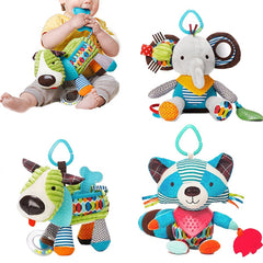 Newborn Baby Plush Animal Toy Rattle for Crib or Stroller - Gifts Are Blue - 1