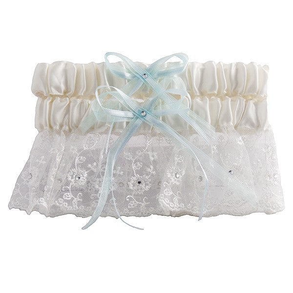 Ivory and Blue Embroidered Wedding Garter Set with Tulle and Crystals