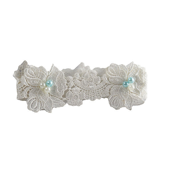 Ivory and Turquoise Blue Pearls Toss Garter for Wedding