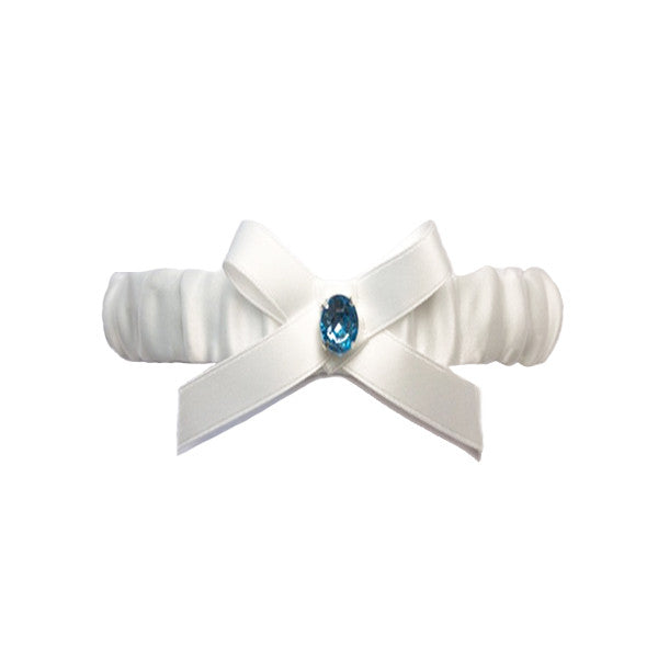Ivory Satin Bride Wedding Garter with Blue Rhinestone and Bow Knot - Gifts Are Blue - 1