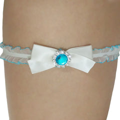 Ivory with Blue Trim Bridal Toss Garter with Rhinestone - Gifts Are Blue - 2