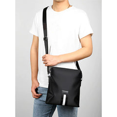 JackKevin Mens Casual Nylon Messgenger Bag, Model, Black