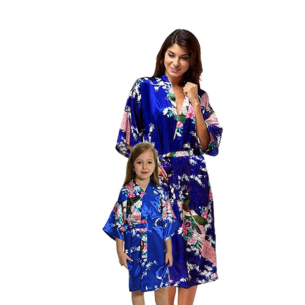 Jewel Blue Mommy and Me Robes, Floral, Satin, Main, all SKUs