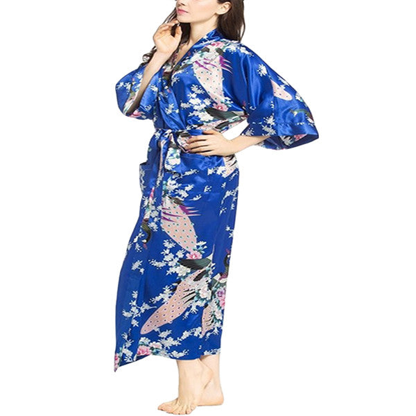 Elegant Long Floral Silk Kimono Womens Robe, Small to 3XL - Gifts Are Blue - 8, Jewel Blue