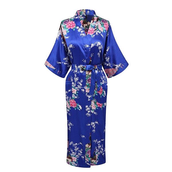 Elegant Long Floral Silk Kimono Womens Robe, Small to 3XL - Gifts Are Blue - 6