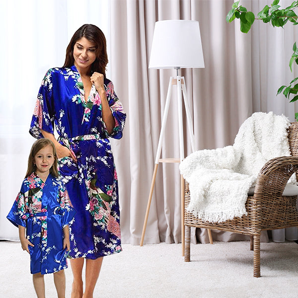Jewel Blue Mommy and Me Robes, Floral, Satin, Lifestyle, all SKUs