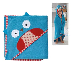 Cartoon Print Infant Toddler Blue Animal Hooded Bath Robe - Gifts Are Blue - 3