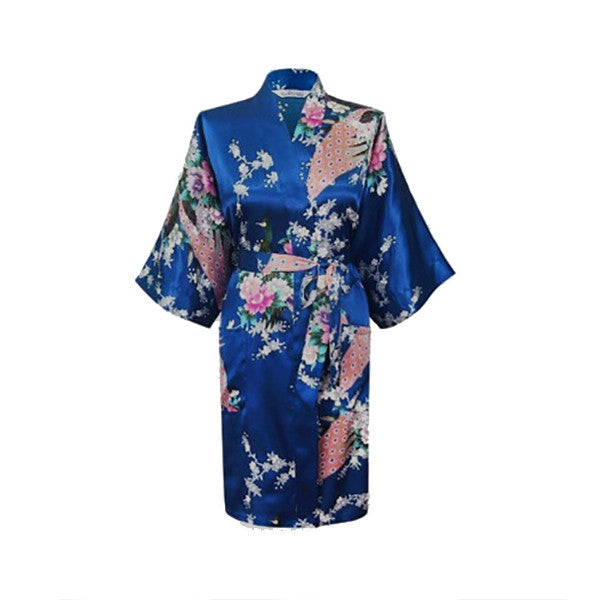 Medium Length Womens Silk Robes Kimono - Lightweight - Gifts Are Blue, Jewel Blue