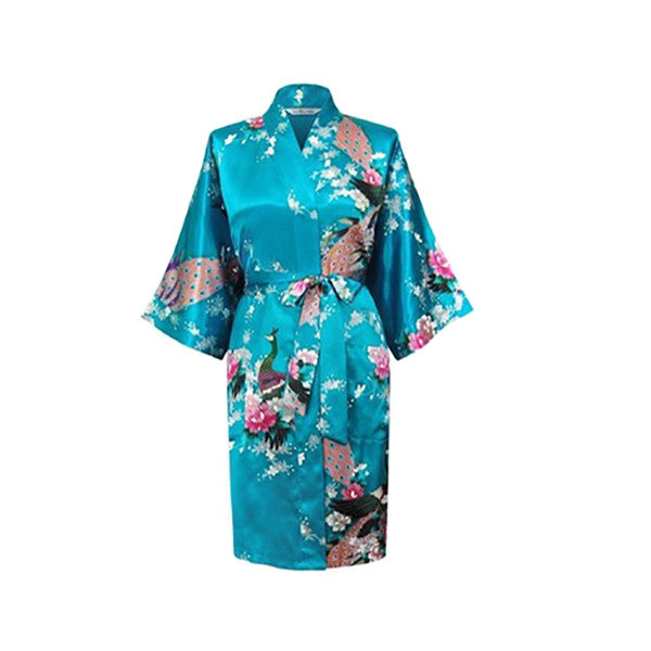 Medium Length Womens Silk Robes Kimono - Lightweight - Gifts Are Blue, Lake Blue