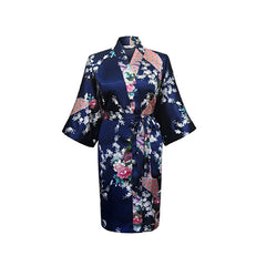 Medium Length Womens Silk Robes Kimono - Lightweight - Gifts Are Blue - 7, Navy Blue