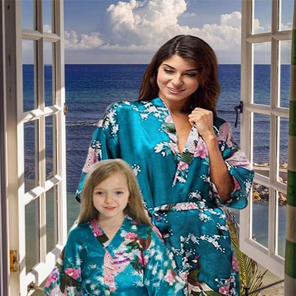 Turquoise Mommy and Me Robes, Floral, Satin, Lifestyle, all SKUs