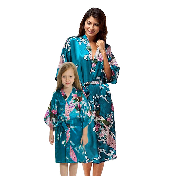 Turquoise Mommy and Me Robes, Floral, Satin, Main, all SKUs