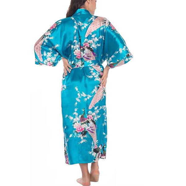 Elegant Long Floral Silk Kimono Womens Robe, Small to 3XL - Gifts Are Blue - 7, Lake Blue