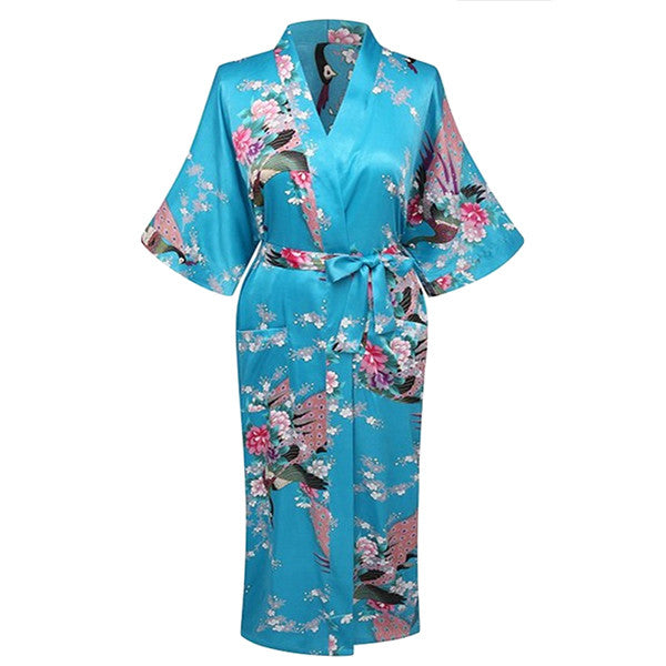 Elegant Long Floral Silk Kimono Womens Robe, Small to 3XL - Gifts Are Blue - 4