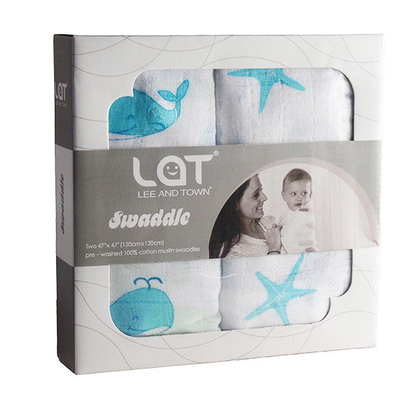 2 Pack Pre-Washed 100% Muslin Cotton Swaddle Blanket Gift Set, Large, 47 x 47 - Gifts Are Blue - 1