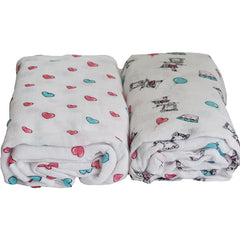 2 Pack Pre-Washed 100% Muslin Cotton Swaddle Blanket Gift Set, Large, 47 x 47 - Gifts Are Blue - 2