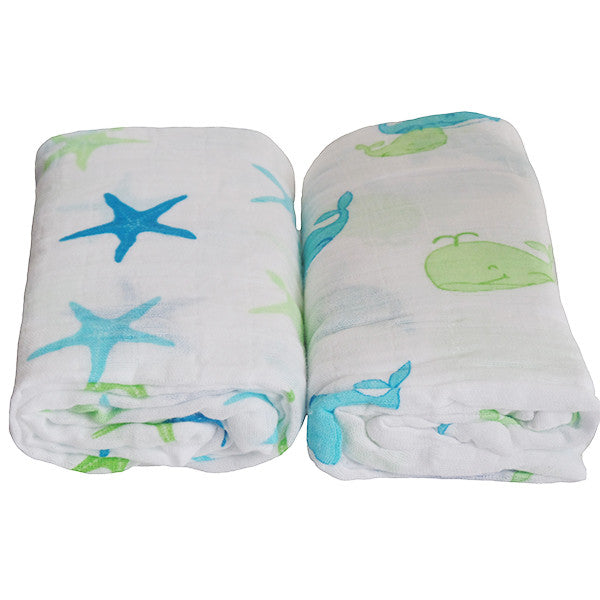2 Pack Pre-Washed 100% Muslin Cotton Swaddle Blanket Gift Set, Large, 47 x 47 - Gifts Are Blue - 3