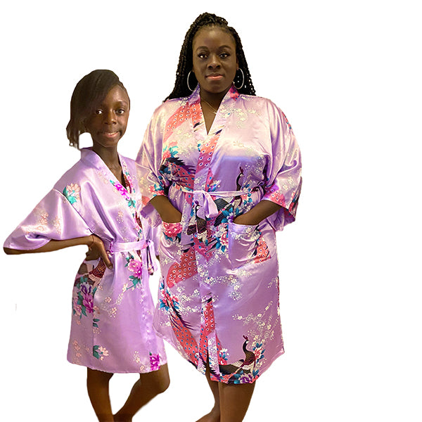 Lavender Mommy and Me Robes, Floral, Satin, Main, all SKUs