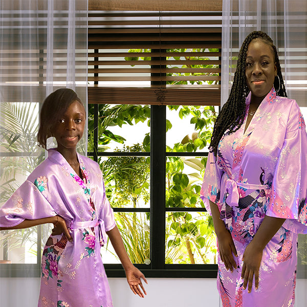 Lavender Mommy and Me Robes, Floral, Satin, Lifestyle, all SKUs