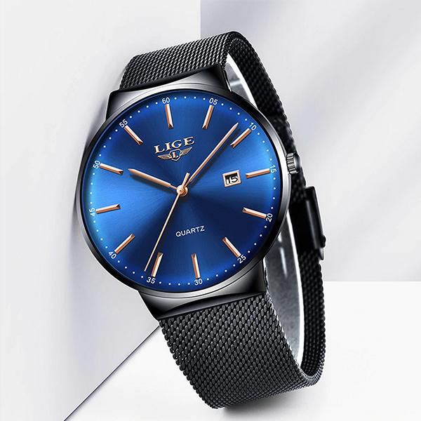 LIGE Mens Classic Elegance Watch, Frontview, Black on Blue