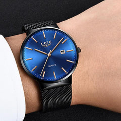 LIGE Mens Classic Elegance Watch, Model Hand, Black on Blue