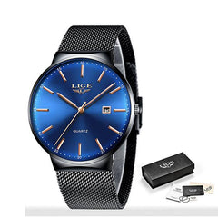 LIGE Mens Classic Elegance Watch, Packaging, Black on Blue