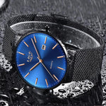 LIGE Mens Classic Elegance Watch, Waterview, Black on Blue