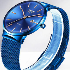 LIGE Mens Classic Elegance Watch, Close Up, Blue on Blue