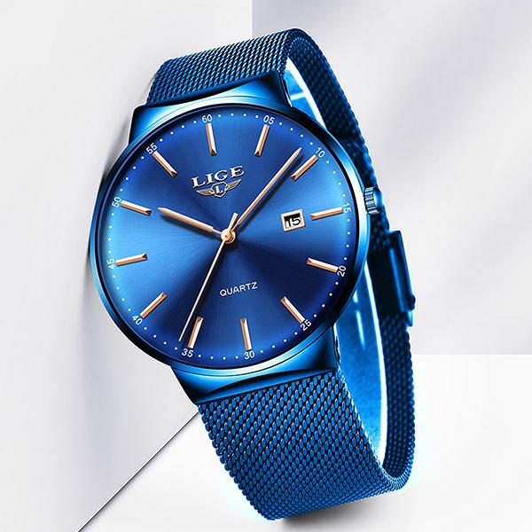 LIGE Mens Classic Elegance Watch, Frontview, Blue on Blue