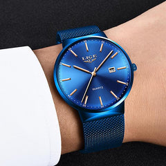 LIGE Mens Classic Elegance Watch, Model Hand, Blue on Blue