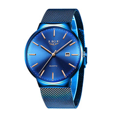 LIGE Mens Classic Elegance Watch, 30M Waterproof, Stainless Steel Mesh