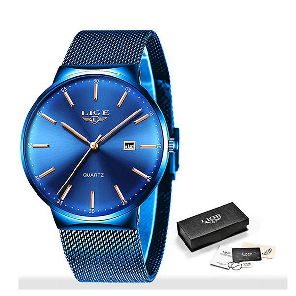 LIGE Mens Classic Elegance Watch, Packaging, Blue on Blue