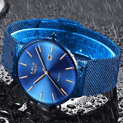LIGE Mens Classic Elegance Watch, Waterproof, Blue on Blue