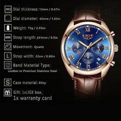 LIGE High End Luxury Mens Watch with Blue Face, Features, all SKUs