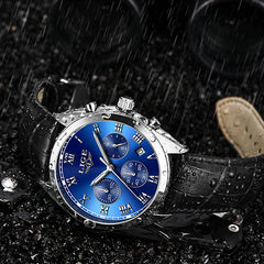 LIGE High End Luxury Mens Watch with Blue Face, Waterproof, Black