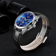 LIGE High End Luxury Mens Watch with Blue Face, Sideview, Black